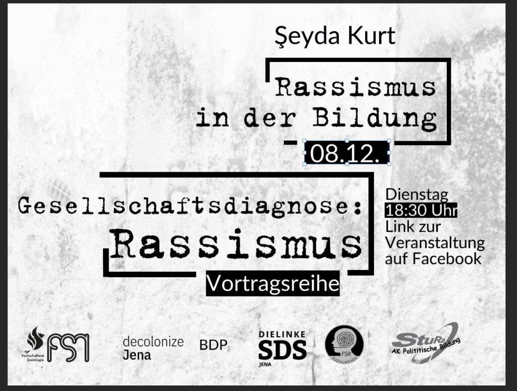 """Veranstaltungsflyer zu dem Vortrag """"Rassismus in der Bildung"""""""